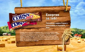 Promo website design and development, and advertising campaign for Corny